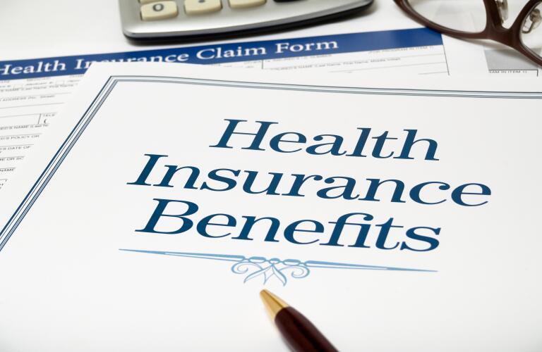 Health Insurance Benefits book close-up