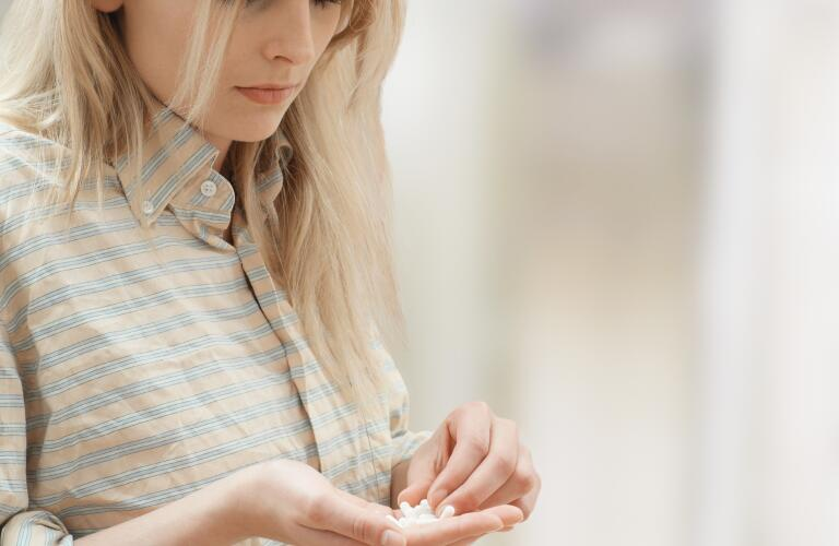 Woman with pills